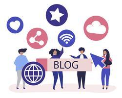 Ilustração de personagens de pessoas segurando ícones de blogging