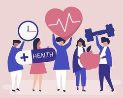 Pessoas saudáveis, carregando ícones diferentes relacionados ao estilo de vida saudável