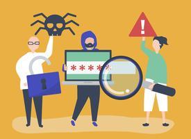 Karaktär illustration av personer med cyberkriminalitet ikoner