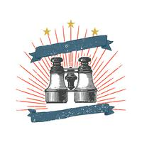 Old binoculars badge illustration