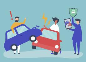 Icone di persone di carattere e assicurazione auto