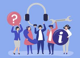 Tragende Kommunikationsikonen des Kundensupportpersonals