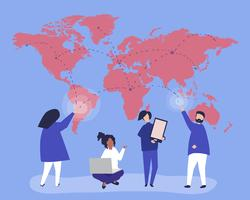 Character illustration of people with global network concept
