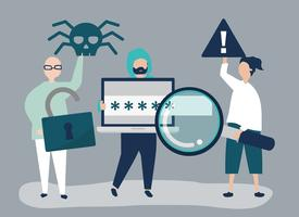 Character illustration of people with cyber crime icons vector