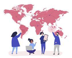 Karaktär illustration av människor med globala nätverkskoncept