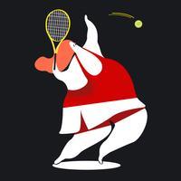 Tecken illustration av en kvinnlig tennisspelare