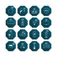 Smart hemteknik ikon vektor uppsättning