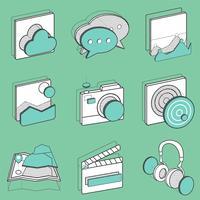 Conjunto de ilustración de iconos de recreación