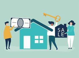 Charakterabbildung der Leute, die Haus verkaufen