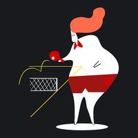 Karaktär illustration av en kvinna som spelar bordtennis