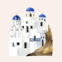 Santorini Cycladic huizen geschilderd door aquarel