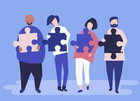 Persone provenienti da diversi contesti che trasportano pezzi di puzzle