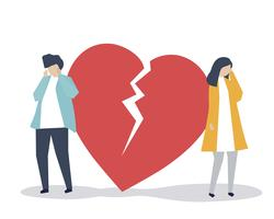Illustration of a couple with a heart break icon