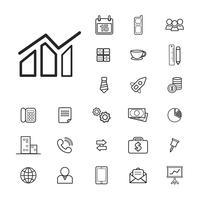 Illustration av affärs ikoner uppsättning