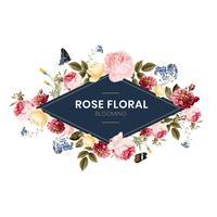 Cartão de moldura floral rosa desabrocham