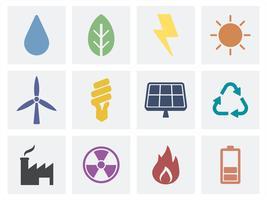 Eco e ilustração de ícones orgânicos verde