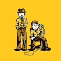 Två detektiv som pratar genom koppar illustration