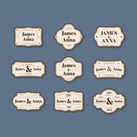 Set of wedding invitation badges
