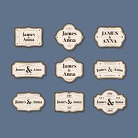 Conjunto de emblemas de convite de casamento