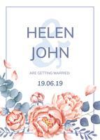 Um cartão de casamento com tema floral
