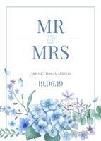 Cartão temático azul com flores