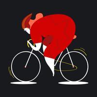 Personagem feminina, montando, bicicleta, ilustração