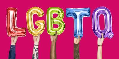 Händer som håller ordet LGBTQ illustration