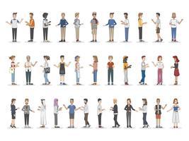 Samling av olika illustrerade personer