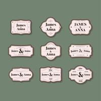 Verzameling van klassieke stijl bruiloft uitnodiging badges