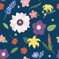 Padrão sem emenda de flores e folhas