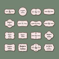 Collection de badges d'invitation de mariage de style classique