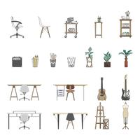Collection of illustrated items
