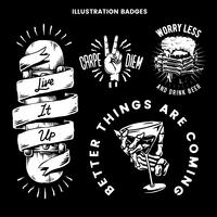 Cool retro motivational badges vector