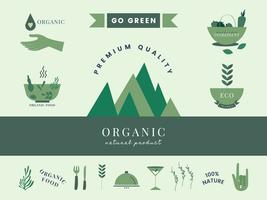 Set of organic and go green icons