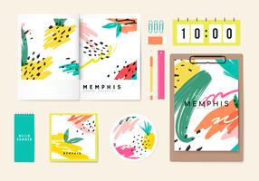 Colección de papelería de verano Memphis.