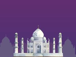The Taj Mahal painted by watercolor