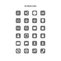 Set of networking line art icons vector