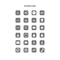 Conjunto de ícones de arte de linha de rede