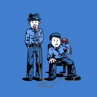 Two detectives talking through cups illustration