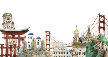 Collection de monuments architecturaux à travers le monde illustration aquarelle