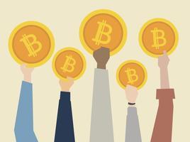 Människor håller upp cryptocurrency illustration