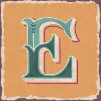 Hoofdletter E vintage typografie stijl