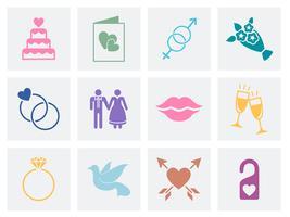 Conjunto de vectores de amor y boda.