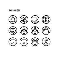 Set of shipping logistics line art icons
