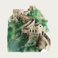 The Great Wall of China watercolor illustration