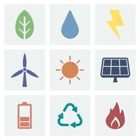 Illustration d'icônes Eco et vert vecteur