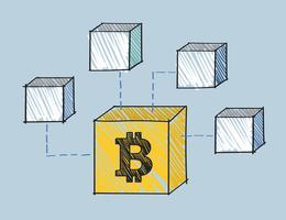 Bloco de Bitcoin anexado à ilustração de blockchain