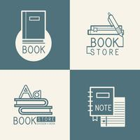 Bookstore logos and sign set vector