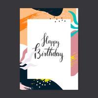 Kleurrijke Memphis ontwerp gelukkige verjaardagskaart vector