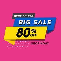 Stor försäljning 80% rabatt reklam vektor